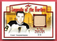 2019-20 Tiny Thompson Leaf In The Game Used Legends of the Garden Relic 2/3