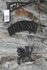 Cast iron Welsh dragon garden / house croeso ( welcome ) hanging sign - NEW