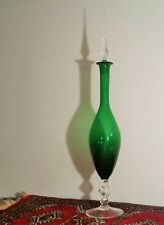2FT empoli decanter italian glass green bottle vtg twisted stem mcm table art
