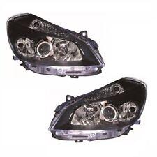 For Renault Clio Mk3 Sport Models 10.05-09.09 Headlight Lamp Black Pair OS NS