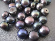 Black Peacock Half Drilled Freshwater Button Pearl Beads 7-8mm 6pcs