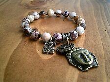 Buddha Head OM Charm Bracelet Zebra Striped Gemstone Beaded Bracelet UK Seller
