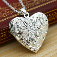 Silver 3D Hollow Frame Locket Love Heart Women's Necklace Pendant