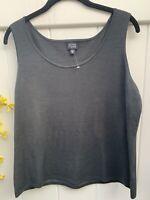 Eileen Fisher womens tank top Xlarge Silk/Nylon lagenlook style pullover Black