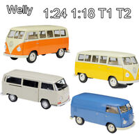 Welly 1:18 VOLKSWAGEN T1 BUS Microbus 1:24 Volkswagen 1972 T2 Diecast Car Model