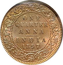 INDIA 1897 1/4 Anna ICG MS67 BN nice toned super gem coin