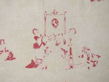 Vintage French FADED toile fabric red BEAUTIFUL ~