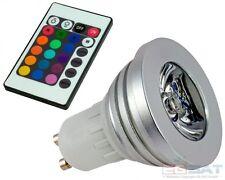 SPOT RGB LAMPADA FARETTO GU10 3W LED POWER LED  BASSO CONSUMO CROMOTERAPIA **