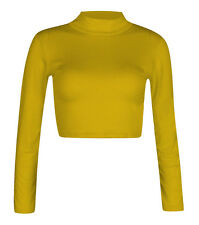 H11-12a Womens Polo Turtle Neck Long Sleeve Stretchy Jersey Cropped Top T-shirt Mustard Ml 12-14
