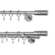Gardinenstange Vorhangstange  1 und 2 läufig 19mm Metall  EDELSTAHL modern Cyrus