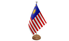 Malaysia Small Table Flag with Wooden Stand