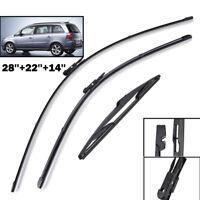 Set of 3 Front Rear Windscreen Flat Wiper Blades Kit For Opel Zafira B Vauxhall
