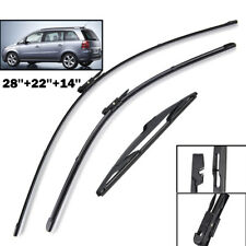 Set of 3 Front Rear Windscreen Flat Wiper Blades Kit For Opel Zafira B Vauxhall