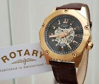 Rotary Mens Watch Skeleton Automatic 21 Jewels Watch Rose Gold plated  RRP£280