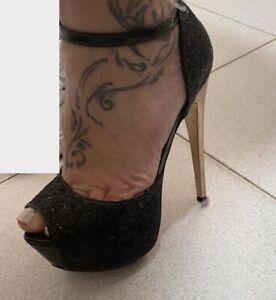 38 Decollete donna sexy plateau high heels pumps Glitter Usate Fetish Open Toe
