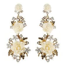 NWT Amrita Singh Ivory Resin Gold Lyon Floral Rose Crystal Earrings ERC 849