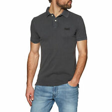 Superdry Vintage Destroyed Pique T-shirt Polo Shirt - Black All Sizes