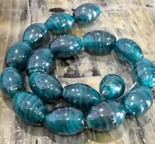 Handmade Lampwork Oval,18x12mm, Teal, Approx 17pce ,Free Post Oz Seller