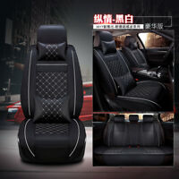 Deluxe Edition 2Pcs Front PU Leather  Auto Car Seat Cover Cushion w/Pillows
