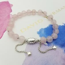 David Yurman Sterling Silver 8'mm Rose Quartz Spiritual Bead Bracelet Adjustable