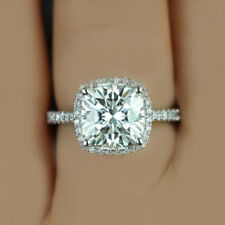 GIA Certified Cushion Cut Diamond 18k White Gold 3.00 Carat Engagement Ring