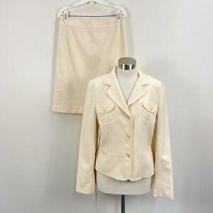Ann Taylor Loft Womens Jacket 12 Skirt 8 Suit Woven Cream Career Cotton OSG12