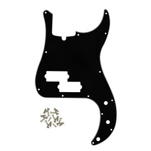 New Black 3Ply 4-String P Bass Pickguard 13 Holes for Standard Precision Bass