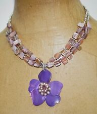 """Chunky Purple Mother of Pearl Flower Pendant Layered Choker Necklace 17"""""""
