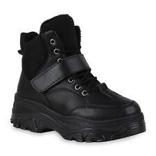 Damen Chunky High Sneaker Gefütterte Plateau Boots Schnürer 832271 Schuhe