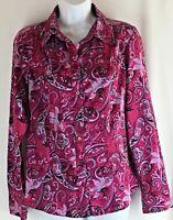 Womens TOMMY HILFIGER Long Sleeve Floral Paisley Blouse Shirt Size Medium