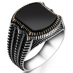 Solid 925 Sterling Silver Black Flat Onyx Stone Men's Ring