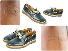 Paul Smith Italy Sz 6 Green Leather Lace Up Moccasin Style Shoes - Fast Ship!