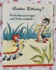 Vintage 1940s Unused Anthropomorphic Cute Centipedes Birthday Greeting Card