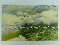 "Vintage Postcard ""Formation Flying Through the Clouds"" WWII Era postmarked 1943"