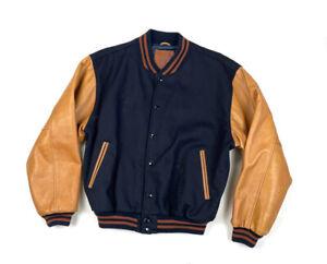 VTG Golden Bear Black Wool Leather Varsity Bomber Jacket USA Made GMC Trucks L