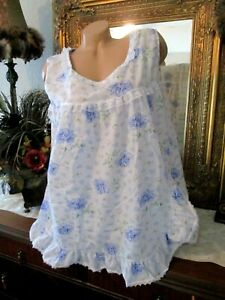 NWOT Vermont Country Store babydoll pajama set  bloomers lace trim blue floral L