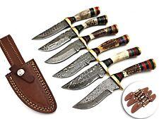 LOUIS SALVATION CUSTOM HANDMADE DAMASCUS HUNTING DAGGER KNIFE STAG SET 6PC SET