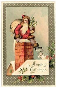 Santa Claus Sitting On Chimney Reindeer Christmas Germany antique postcard