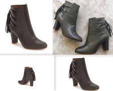 Halogen Grey Sadee Leather Tassel Ankle fringe Almond Toe Zip boots Sz 8.5 M NEW