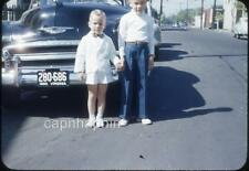 Sharp Dressed Kid Boy & Brother Chevy Car Virginia Plate Vtg 1950 Slide Photo