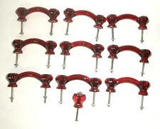 """NINE 9 - RUBY RED GLASS DRAWER / DOOR PULLS - HANDLES W/SCREWS - 3"""" +"""
