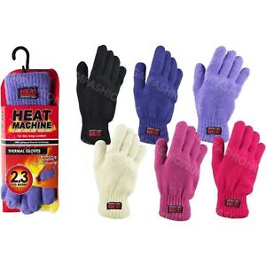 Ladies Womens Gloves 2.3 Tog Double Insulated Thermal Knitted Lined Winter Warm