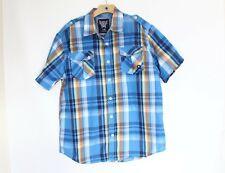Akademiks Men Plaid Shirt sz XL Short Sleeve Button Front New Street Wear blue