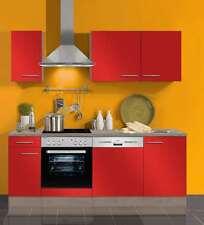 Küchenblock ohne Elektrogeräte Imola 210 cm in signalrot glänzend mit Spüle
