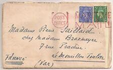 LETTRE COVER,PAQUEBOT,Great Britain,MARITIME MAIL rouge,HMS THESEUS,Toulon Var