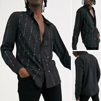 Mens Retro Long Sleeve Casual Dress Shirt Blouse Slim Fit Work Business Tops New
