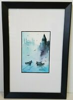 Fishing Boats in the Mist Framed Watercolour Painting on Paper A Velkanii?