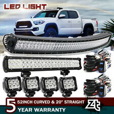 "For 2005-18 Toyota Tundra 50/52"" Curved Led Light Bar +23/22"" +4"" Pods Combo Kit"
