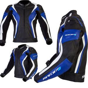 SPADA CURVE WATERPROOF MOTORCYCLE MOTORBIKE LEATHER JACKET - BLACK/BLUE/WHITE