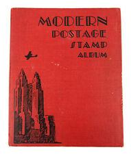 Vintage Art Deco Modern Postage Stamp Album w Stamps 1952 Scott Publications
